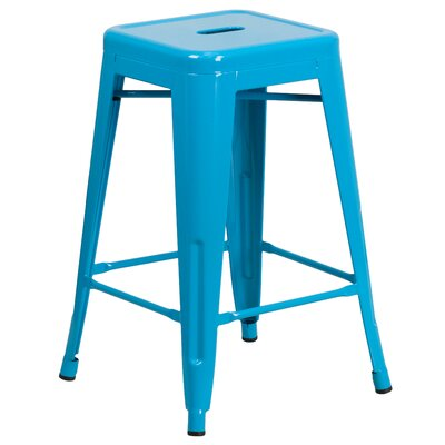 Lompoc 24 Bar Stool Finish: Glossy Crystal Blue