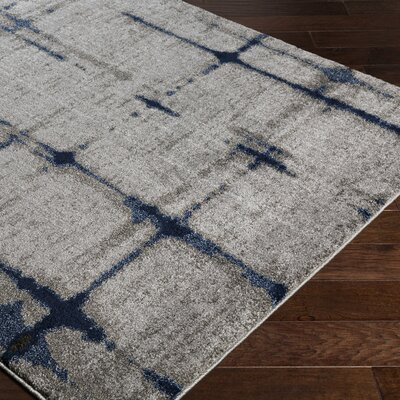 Danny Retangle Gray Area Rug Rug Size: 53 x 76