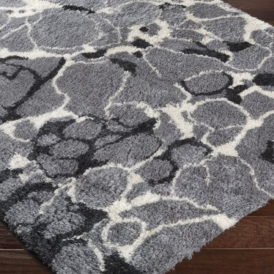 Keith Gray/White Area Rug Rug Size: 2 x 3