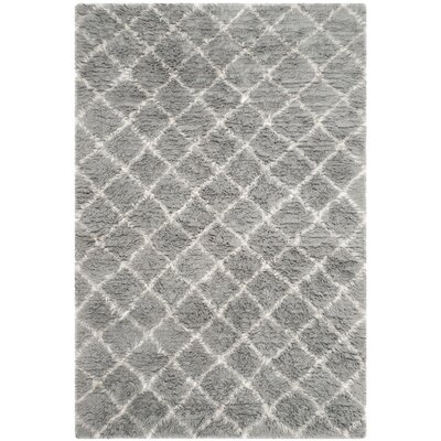 Lurdes Hand-Woven Light Gray/Ivory Area Rug Rug Size: Rectangle 6 x 9