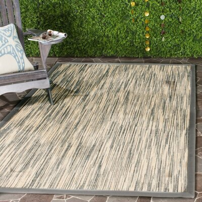 Adeline Natural/Gray Area Rug Rug Size: Rectangle 6 x 9