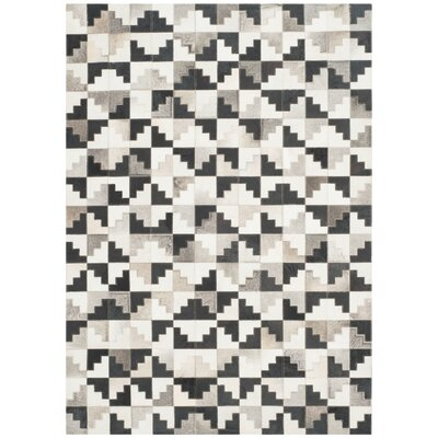 Stasia Hand-Woven Ivory/Black Area Rug Rug Size: Rectangle 3 x 5