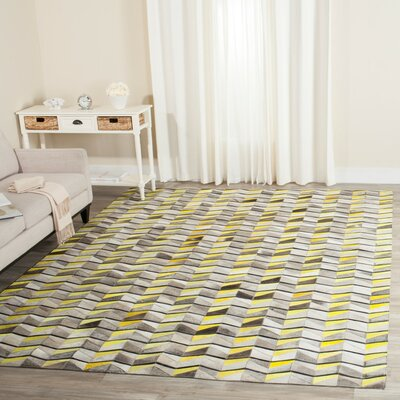 Cartwright Hand-Woven Ivory/Yellow Area Rug Rug Size: Rectangle 3 x 5