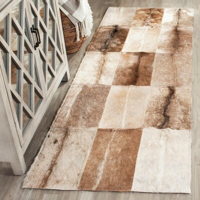 Sequoyah Hand-Woven Natural Cowhide Area Rug Rug Size: Runner 23 x 7