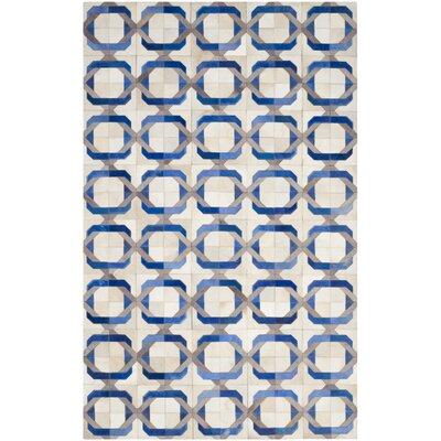 Cartwright Hand-Woven Ivory/Blue Area Rug Rug Size: Rectangle 4 x 6