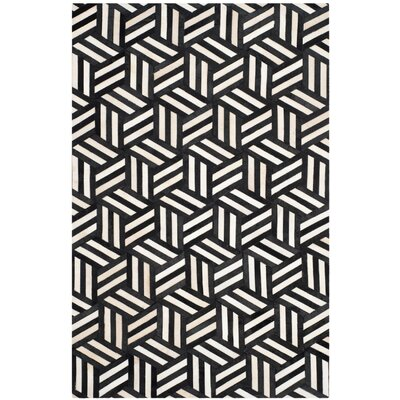 Stasia Hand-Woven Geometric Ivory/Black Area Rug Rug Size: Rectangle 3 x 5