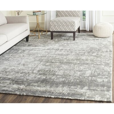Lidia�dia Hand-Knotted Gray/Ivory Area Rug Rug Size: Rectangle 8 x 10
