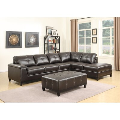 Lonato Chaise Sectional Upholstery: Brown