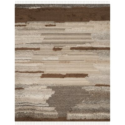 Lurdes Hand-Knotted Gray/Brown Area Rug Rug Size: Runner 23 x 8
