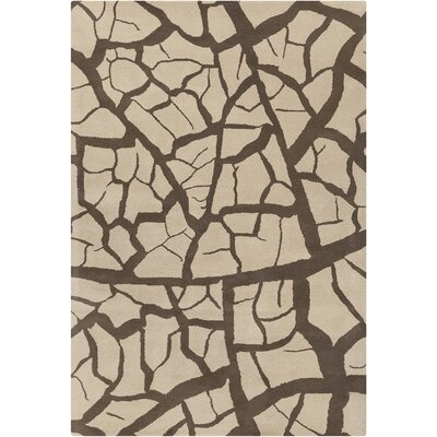 Cavour Hand Tufted Wool Beige/Dark Brown Area Rug