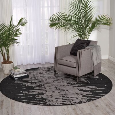 South Aurora Black/Gray Area Rug Rug Size: Round 8 x 8