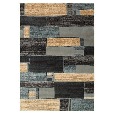 Carver Oblong Blocks Blue & Ivory Area Rug Rug Size: 110 x 31