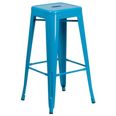 Barchetta 30 inch Bar Stool Finish: Glossy Crystal Blue