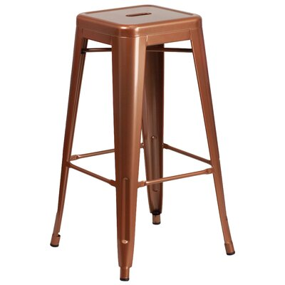 Barchetta 30 inch Bar Stool Finish: Glossy Pure Copper