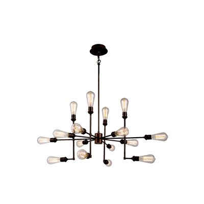 Grassy Ridge  15-Light Cluster Pendant Finish: Polished Nickel