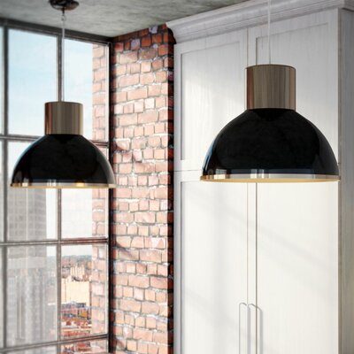 Arturo 1-Light Black Bowl Pendant