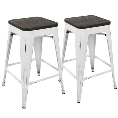 Claremont 24 Bar Stool Finish: White/Espresso