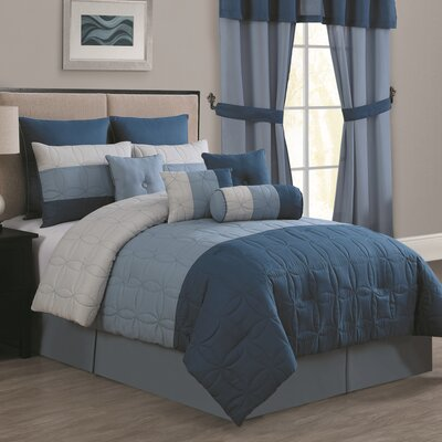 Cacapon 20 Piece Comforter Set Size: King, Color: Navy / Silver