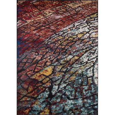 Khalil Brown/Blue Area Rug Rug Size: 93 x 126