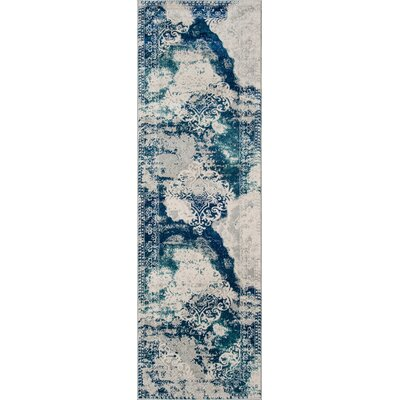 Terry�Blue/Beige Area Rug Rug Size: Runner 23 x 76