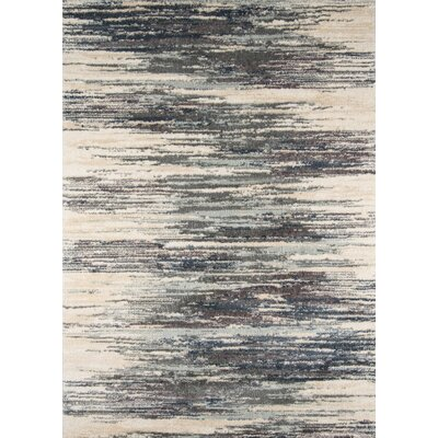 Odyssey Abstract Gray/Ivory Area Rug Rug Size: 93 x 126