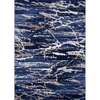 Pierce Blue/White Area Rug Rug Size: 86 x 116