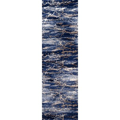 Pierce Blue/White Area Rug Rug Size: Runner 23 x 76