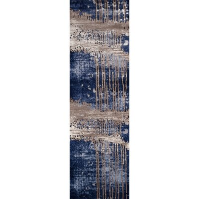 Pierce Blue/Gray Area Rug Rug Size: Runner 23 x 76