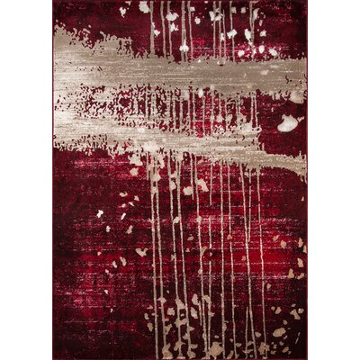 Pierce Red/Tan Area Rug Rug Size: 2 x 3