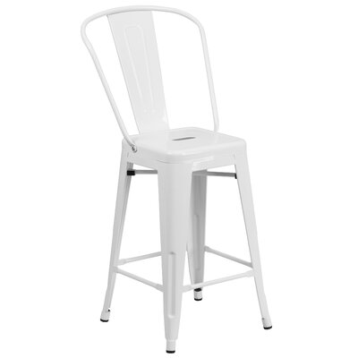 Dovercliff 24.25 inch Bar Stool Finish: Glossy White