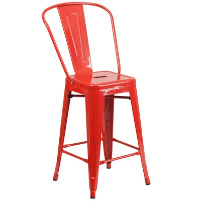 "Dovercliff 24.25"" Bar Stool Finish: Glossy Red"