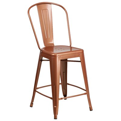 Dovercliff 24.25 inch Bar Stool Finish: Glossy Copper