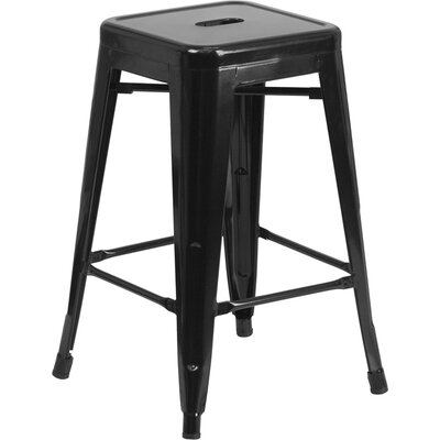 Lompoc 24 Bar Stool Finish: Glossy Black