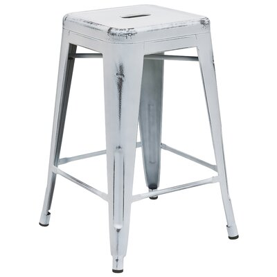 Lompoc 24 inch Bar Stool Finish: Distressed White