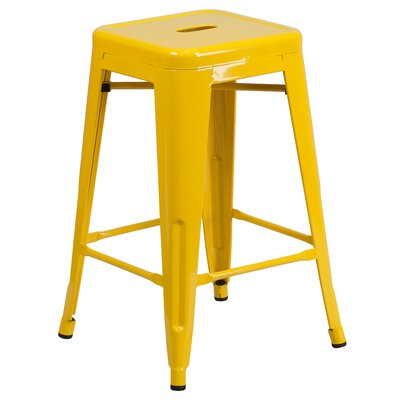 Lompoc 24 inch Bar Stool Finish: Glossy Yellow