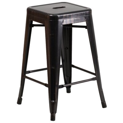 Lompoc 24 Bar Stool Finish: Glossy Black/Antique Gold