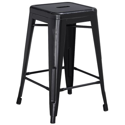 Lompoc 24 Bar Stool Finish: Distressed Black