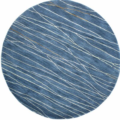 Soleia Hand-Tufted Azure Area Rug Rug Size: Round 8