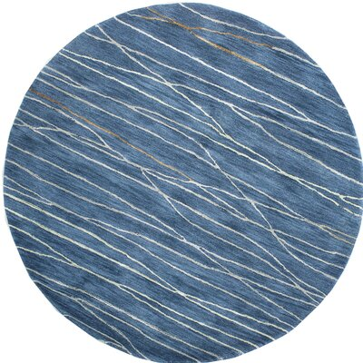 Soleia Hand-Tufted Azure Area Rug Rug Size: Round 6