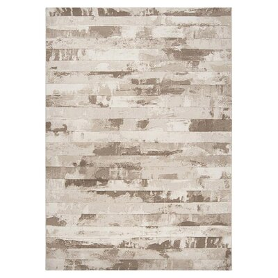 Bigelow Cream Stripes Area Rug Rug Size: 53 x 76