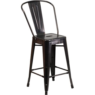 Dovercliff 24 Bar Stool Finish: Glossy Black/Antique Gold
