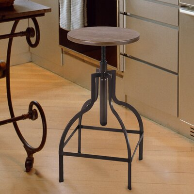 Rhodes Adjustable Height Dark Brown Bar Stool