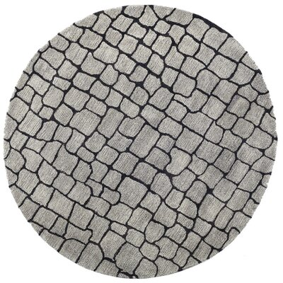 Pawnee Hand-Tufted Silver/Gray Area Rug Rug Size: Round 6