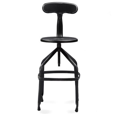 Hawkeye Point Adjustable Height Bar Stool Finish: Antique Black