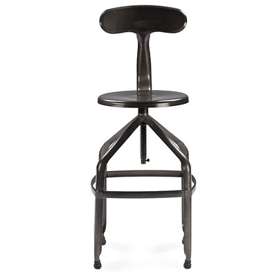 Raci Adjustable Height Bar Stool Finish: Gun Metal