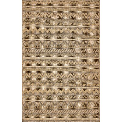 Ycatapom Light Brown Outdoor Area Rug Rug Size: 5 x 8