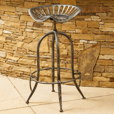 Gridley Adjustable Height Bar Stool Finish: Brushed Silver