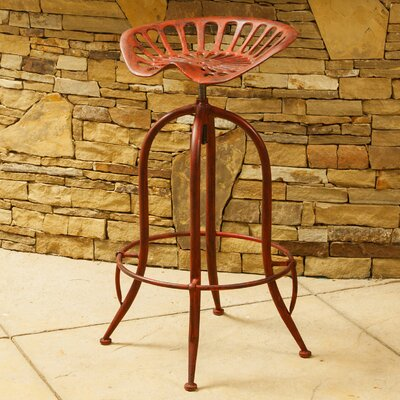 Gridley Adjustable Height Bar Stool Finish: Distressed Red