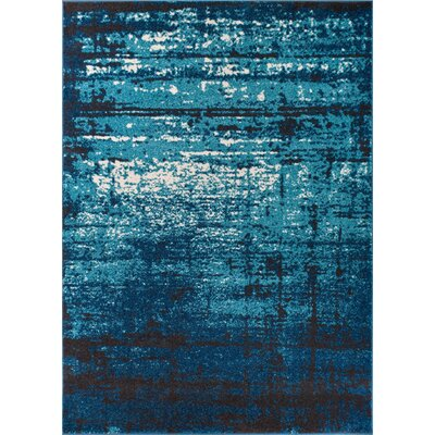 Coolidge Modern Distressed Blue Area Rug Rug Size: 33 x 47