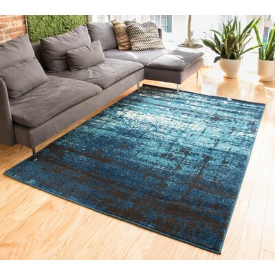 Coolidge Modern Distressed Navy Blue Area Rug Rug Size: 53 x 73